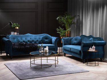 Sofa Set Samtstoff Kobaltblau 5 Sitzer Skien In 2020 Wohnzimmereinrichtung Sitzgruppe Wohnzimmer Sofa
