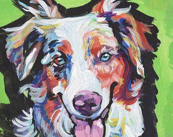 Australian Shepherd Art Print Modern Dog Art Print Blue Merle Aussie Pop Dog Art Bright Colors 12x12 Dog Pop Art Dog Print Art Dog Art