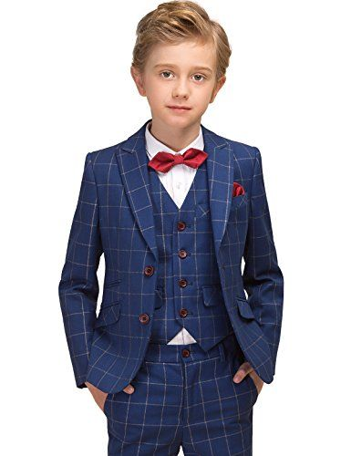Kids English Navy Blue Maroon Formal Check Suits Page Boys Wedding Communion