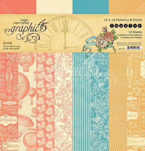 Graphic 45 Imagine 12x12 Patterns Solids Paper Pad 16 Double Sided Sheets Graphic 45 Pattern Paper Journal Cards