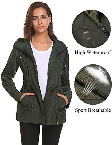 Romanstii Rain Jacket Women Waterproof With Hood Lightweight Raincoat Outdoor Windbreaker In 2020 Rain Jacket Women Windproof Jacket Woman Windproof Jacket