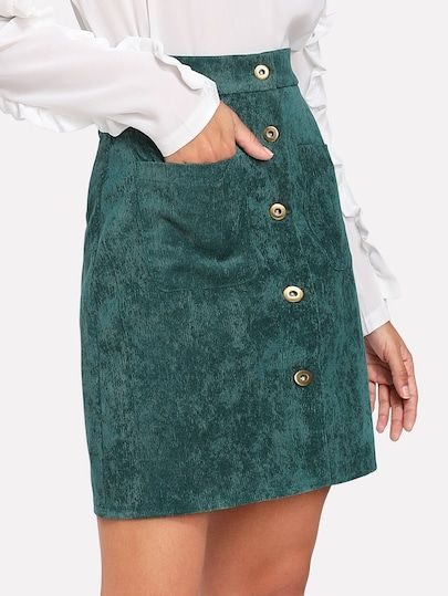4d9df0c13e94 Single Breasted Dual Pocket Corduroy SkirtFor Women-romwe. Shop Single  Breasted Dual Pocket Corduroy Skirt online.