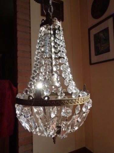 Lampadari A Gocce In Cristallo.Vintage Lampadario Mongolfiera Stile Impero Ottone E Gocce Di