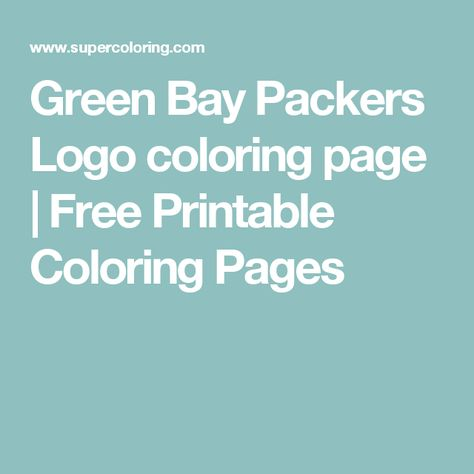 Green Bay Packers Logo Coloring Page Free Printable Coloring