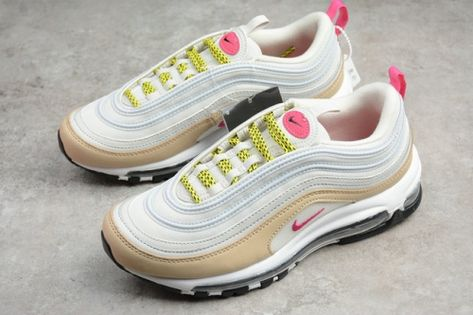 buy online fa192 8694b Authentic 2018 Women Nike Air Max 97 Light Bone Deadly Pink White 921733-004