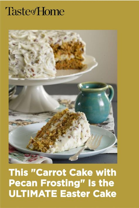 My husband constantly requests this homey, old-fashioned version of carrot cake. The frosting is still tasty even without the pecans. —Adrian Badon, Denham Springs, Louisiana