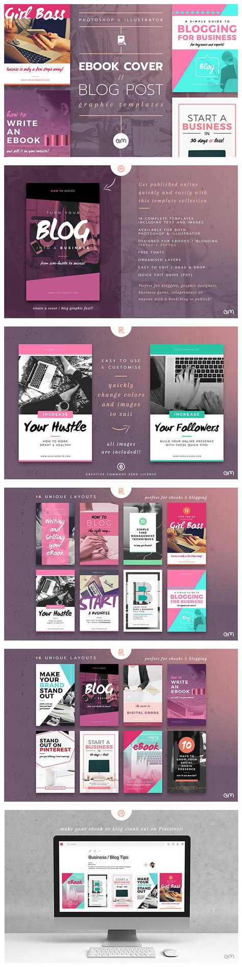 Ebook Cover // Blog Post Graphic Templates - 16 easy to edit, fully customisable Ebook Cover / Blog Post templates, created in both Photoshop & Illustrator and optimised for use in downloadable Ebook format or high quality Blog Posts graphics.