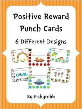 6 different punch cards for positive rewards and behavior management  @Amy Lyons Lyons Lyons Lyons Dugan...this is better than red, yellow, green.