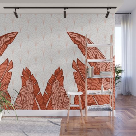 Red Tropical Leaves Society6 Decor Buyart Wall Mural
