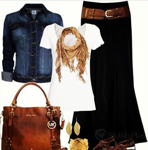 - Long black skirt, denim jacket, brown sandals and purse and belt, gold and brown bracelets…Is it spring yet? - Plus Size Fashion for Women # Casual Outfits jeans sandals 30 Outfits, Outfits Casual, Mode Outfits, Fashion Outfits, Womens Fashion, Outfits Spring, Dress Casual, Fashion Ideas, Petite Fashion