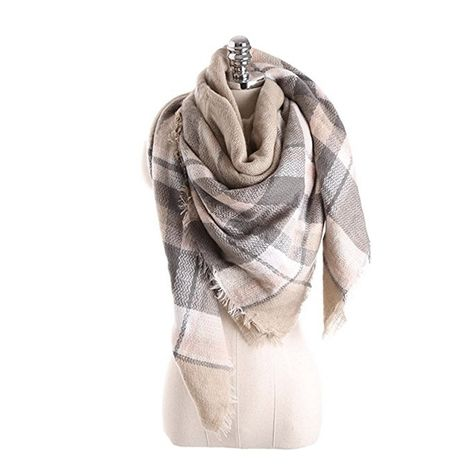 Women s Cozy Tartan Scarf Wrap Shawl Neck Stole Warm Plaid Checked Pashmina  - light brown beige - C2186L8RCE3 - Scarves   Wraps, Cold Weather Scarves  ... 201d76cd9e0