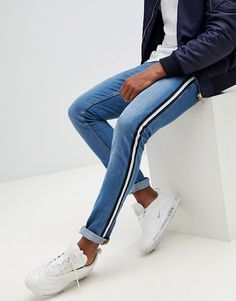 ASOS DESIGN super skinny jeans in mid wash blue with side