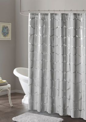Intelligent Design Raina Printed Metallic Shower Curtain Geometric Shower Curtain Gray Shower Curtains Modern Bathroom Decor