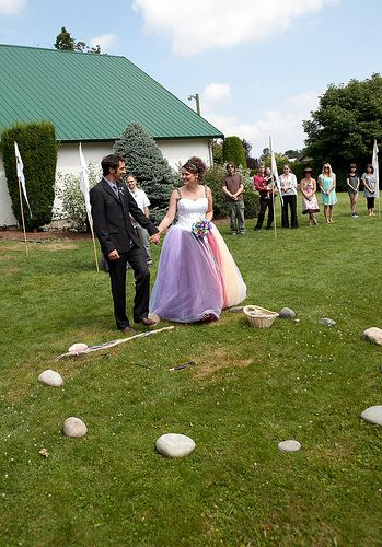 """""""We picked up a basket of stones that contained the names of everyone we expected to be present. It is a Celtic tradition for the wedding guests to toss a stone into a nearby water feature to make a wish for the married couple. I asked guests not to give away the wish, but to make it for themselves."""""""