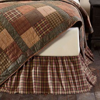 Tan Primitive Bedding VHC Crosswoods Bed Skirt Cotton Plaid