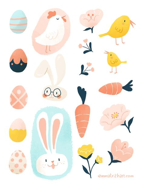 Ridiculously Cute + Free Easter Downloads by Emma Trithart - free stickers and party invite