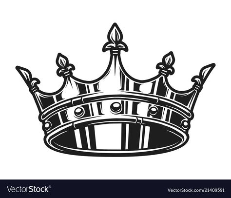 Vintage monochrome royal crown template vector image on VectorStock King Crown Tattoo, King Queen Tattoo, Crown Tattoo Design, King Tattoos, King Crown Drawing, Small Tattoos, Tattoos For Guys, Alphabet Symbols, Crown Template