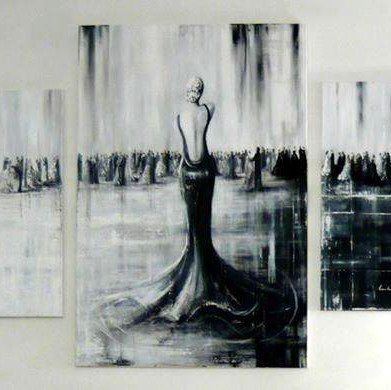 101 gemalde frau im ballklid ballsaal moderne kunst schwarz weiss kunstproduktion acryl abstrakte malerei gold