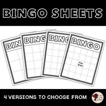 Bingo Sheets Bingo Sheets Teaching Vocabulary Bingo Cards