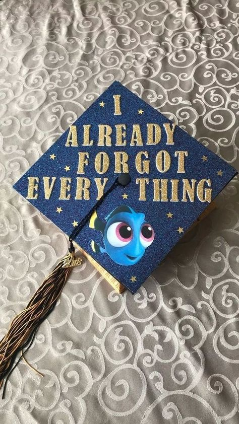 Struggling to figure out how to decorate a graduation cap? Get some inspiration from one of these clever DIY graduation cap ideas in These high school and college graduation cap decorations won' Disney Graduation Cap, Funny Graduation Caps, Graduation Cap Designs, Graduation Cap Decoration, Graduation Diy, Funny Grad Cap Ideas, Graduation Invitations, Decorate Cap For Graduation, Graduation Cap Drawing