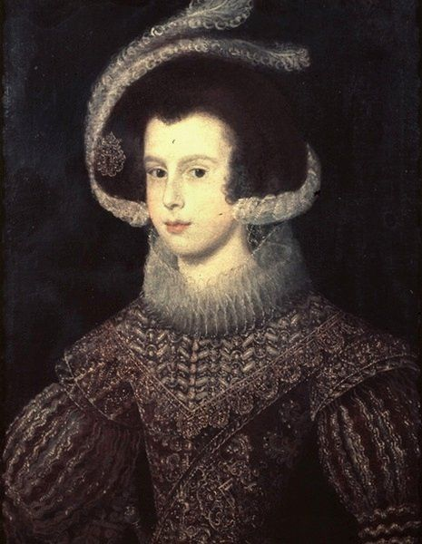 Elisabeth of France/Iabella de Bourbon (22 November 1602 – 6 October 1644) (portrait by Velasquez) was Queen consort of Spain (1621 to 1644) and Portugal (1621 to 1640) as the first wife of King Philip IV of Spain. She was the eldest daughter of King Henry IV of France and his second spouse Marie de' Medici. As a daughter of the king of France, she was born a Fille de France. As the eldest daughter of the king, she was known at court by the traditional honorific of Madame Royale.