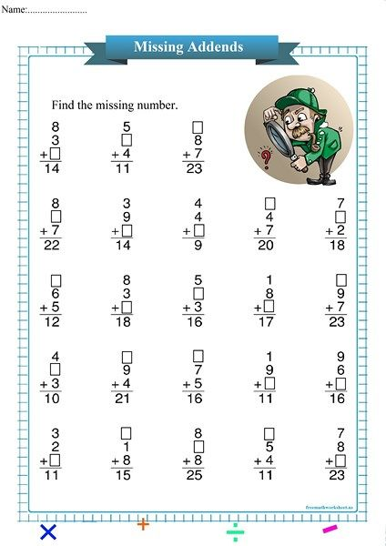 Detective Missing Addend Free Math Worksheets Kindergarten Worksheets Kindergarten Worksheets Printable Free Math Worksheets