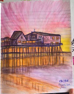 Paysages Au Stylo Bille Bic Bleu Et Crayon Aquarelle Crayons