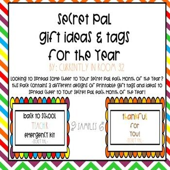Looking to spread some Cheer to your secret pal each month of the year? This pack contains 3 printable gift tag designs and ideas for each month to spread cheer to your secret pal! Just print the labels, attach to the treat, and put them in a place your pal will find them! Feel free to use them in w...