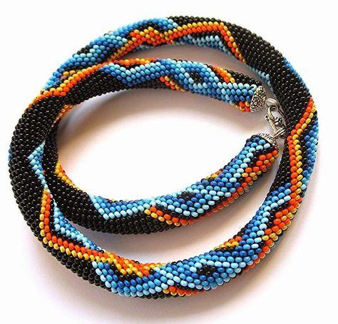 """Украшения из бисера и камней """"Beaded jewelry"""": Схема для жгута """"Ромбики сине-желтые"""""""