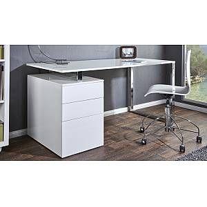 Bureau Droit Moderne Laque Blanc Avec Caisson Cole Gdegdesign Bureau Design Meuble Bureau Design Bureau Blanc Laque