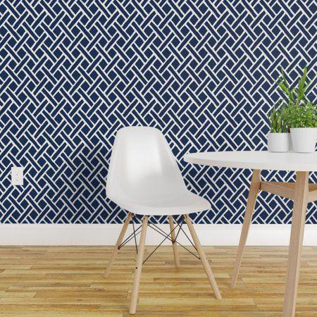 Peel And Stick Removable Wallpaper Trellis Navy Blue White Geometric Lattice Walmart Com Removable Wallpaper Quick Decor Drawer And Shelf Liners