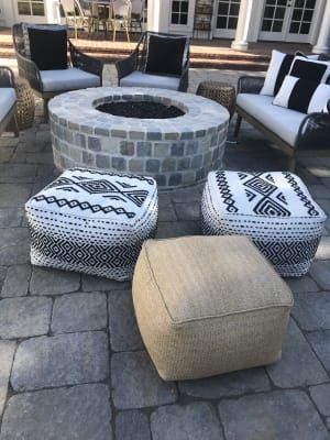 Black And White Kilim Indoor Outdoor Pouf Outdoor Pouf Indoor