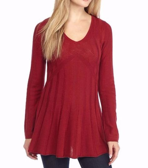 Sophie Max Studio 5B00493 Black V-Neck Fit /& Flare Sweater Tunic Top MSRP $68