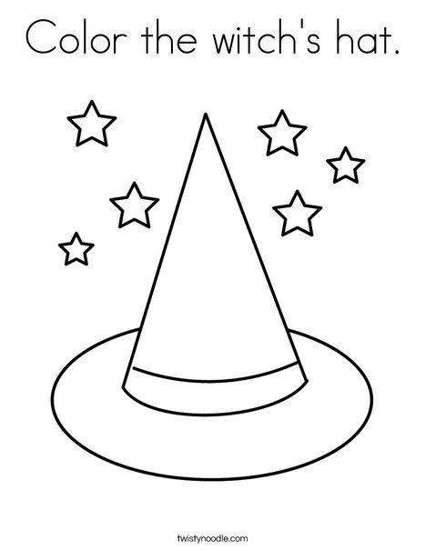 Color The Witch S Hat Coloring Page Twisty Noodle Coloring