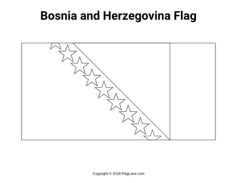 Free Printable Bosnia And Herzegovina Flag Coloring Page Download