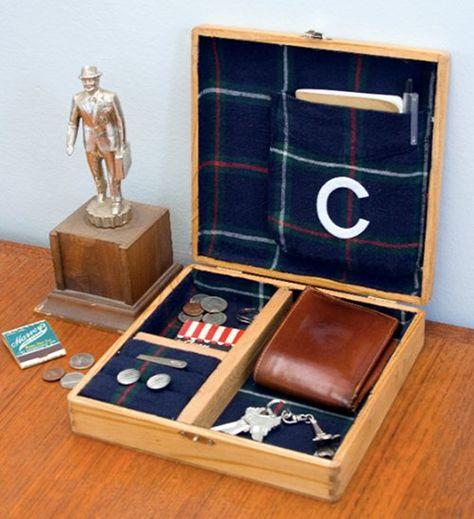 DIY: cigar box/plaid flannel valet.