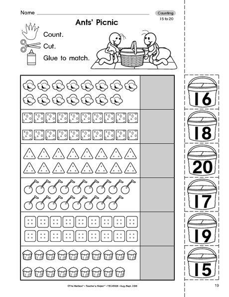 Counting 15 -20 Worksheets Counting Worksheets For Kindergarten, Counting  To 20, Preschool Counting