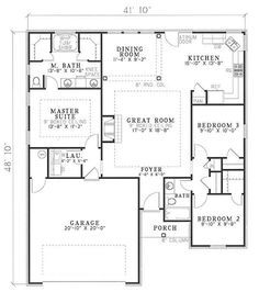 French Home Plan 3 Bedrms 2 Baths 1382 Sq Ft 153 1608 Country Style House Plans French House Plans Brick House Plans