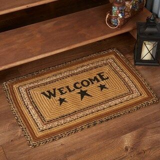 Tan Primitive Flooring Vhc Kettle Grove Welcome Rug Jute Text Stenciled 1 8 X 2 6 1 8 X 2 6 Natural Black Vhc Brands Jute Colorful Rugs Rugs On Carpet