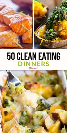 Trying to do your best to eat clean and change your diet for the better? Here is a handy resource with 50 clean eating dinners, all in one list. eating recipes for dinner 50 Clean Eating Dinners Clean Eating Recipes For Dinner, Clean Eating Breakfast, Clean Eating Desserts, Clean Eating Meal Plan, Healthy Dinner Recipes, Eat Clean Dinners, Easy Clean Eating Recipes, Clean Foods, Clean Diet