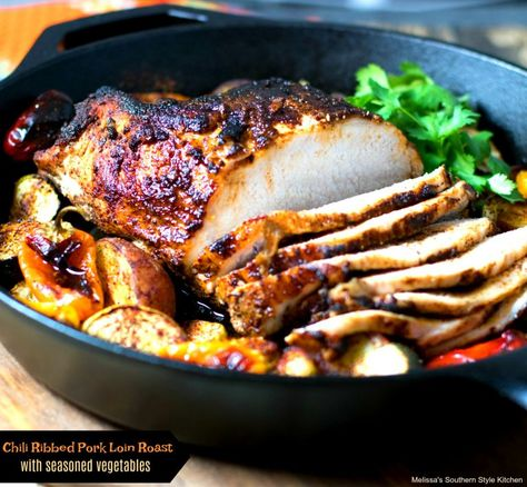 Tender and flavorful roasted pork loin with vegetables is a one skillet meal #porkloin #roastedporkloin #porkrecipes #pork #roastedpork #chilirub #dinner #dinnerideas #southernfood #southernrecipes