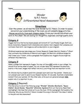 Wonder By R J Palacio Differentiated Novel Assessment Teaching Wonder Wonder Novel Wonder Book