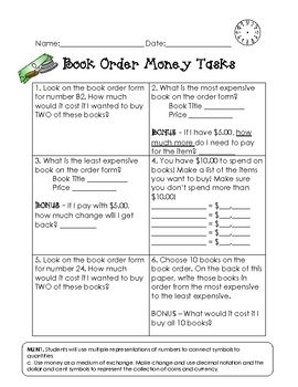 math word problems using book order