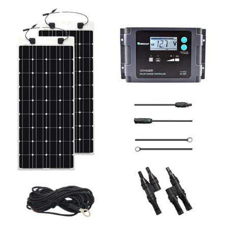 Renogy 100 Watt 12 Volt Solar Marine Kit With Ultra Flexible Solar Panel Waterproof Controller And Temperature Sensor Solar Energy Panels Solar Panels Best Solar Panels