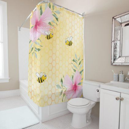 Happy Bumble Bees Yellow Honeycomb Sweet Shower Curtain Zazzle
