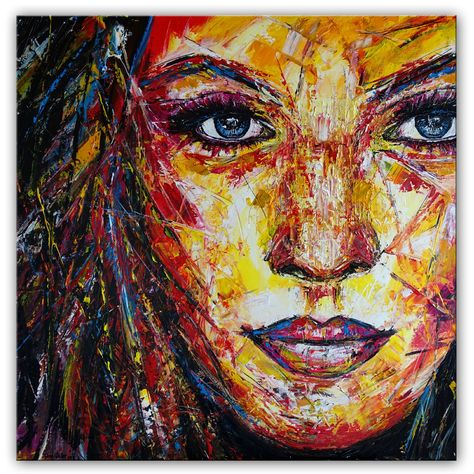 Kunst Malerei Original Acryl Gemalde Gesicht Portrat Frau Rot Gelb