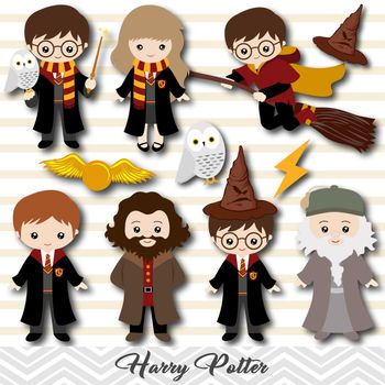 Product No 00090what You Receive 23 Png Files In High Resolution 300 Dpi Please See Sample Imag Harry Potter Clip Art Digital Harry Potter Harry Potter Bday