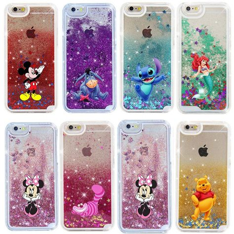 Mickey Dynamic Liquid Quicksand Hard Shell Cover Case for iPhone 5S 6S 7 Plus