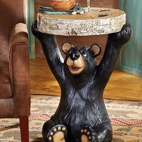 This Bear End Table Adds Cute Rustic Charm To A Cabin Or Mountain