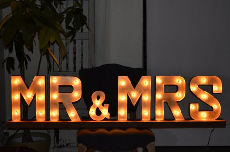 "Mr. & Mrs. Wedding Marquee Light Sign - $140 on Etsy... 56"" in length with a height of 14"" and a width of 6"""
